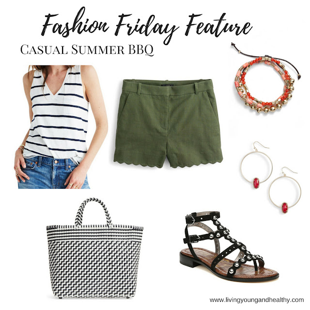 This casual summer outfit is perfect for an outdoor event.  The pieces are stylish, but comfortable, and can be mixed-and-matched with other pieces in your wardrobe | www.livingyoungandhealthy.com