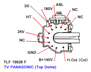 Data Pin Out Flyback TLF 15626 F TV PANASONIC (Top Dome)