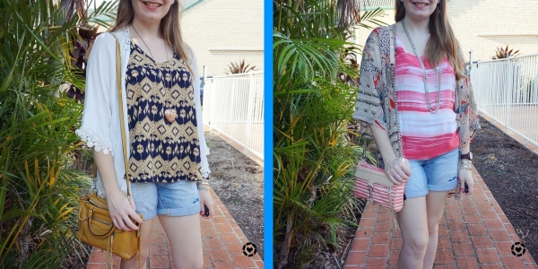 two ways to wear distressed denim shorts with kimonos in summer | away from the blue blog