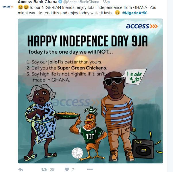 #NigeriaAt56: Access Bank Ghana shades Nigeria on Independence Day