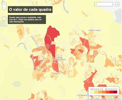 Valor de cada quadra do bairro Jaraguá. Vide legenda (quanto mais escuro, mais caro). Fonte: Estadão.