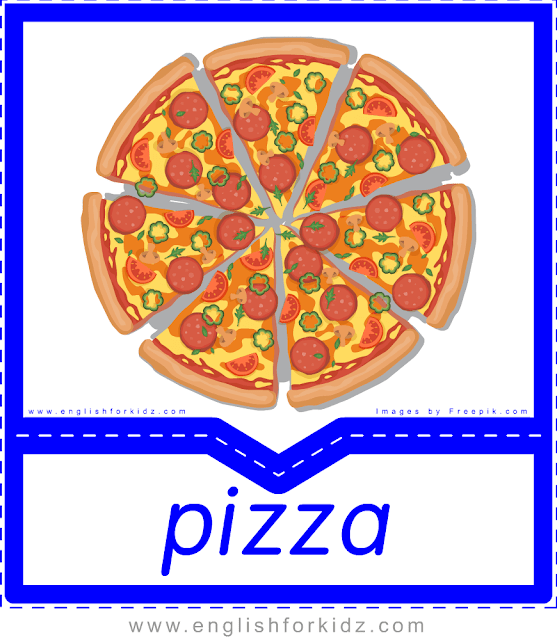 Pizza - English food flashcards for ESL students