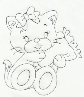 risco gatinha com travesseiro