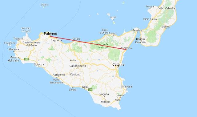 Mapa da viagem de Palermo a Taormina