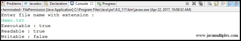 Output of Java program that checks whether given file is readable, writable or executable.