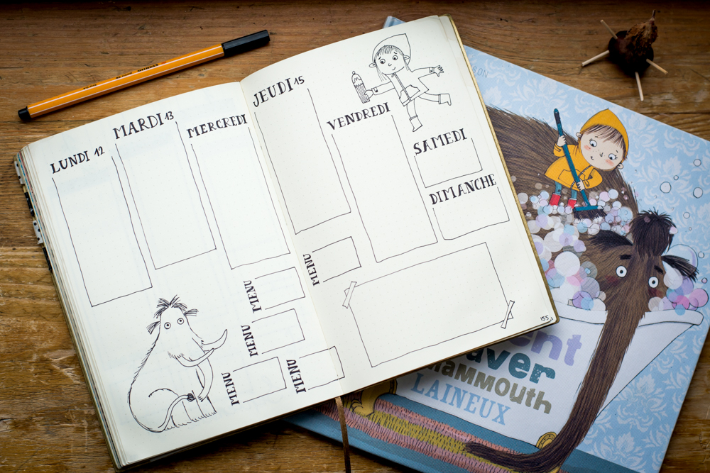 weekly spread bullet journal mammouth laineux wollly mammoth
