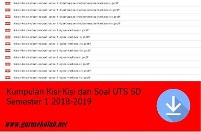 Kumpulan Kisi-Kisi dan Soal UTS SD Semester 1 2018-2019