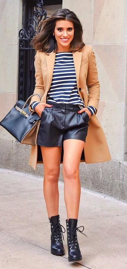 trendy outfit / stripped top + nude coat + black shorts + boots + bag