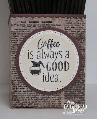 ODBD I Love Coffee, ODBD Vintage Ephemera Paper Collection, ODBD Custom Bitty Borders Dies, ODBD Custom Pierced Circles Dies, ODBD Custom Circles Dies, Project Designer Angie Crockett