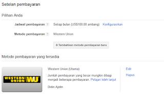 Cara setting pembayaran Adsense dengan Western Union