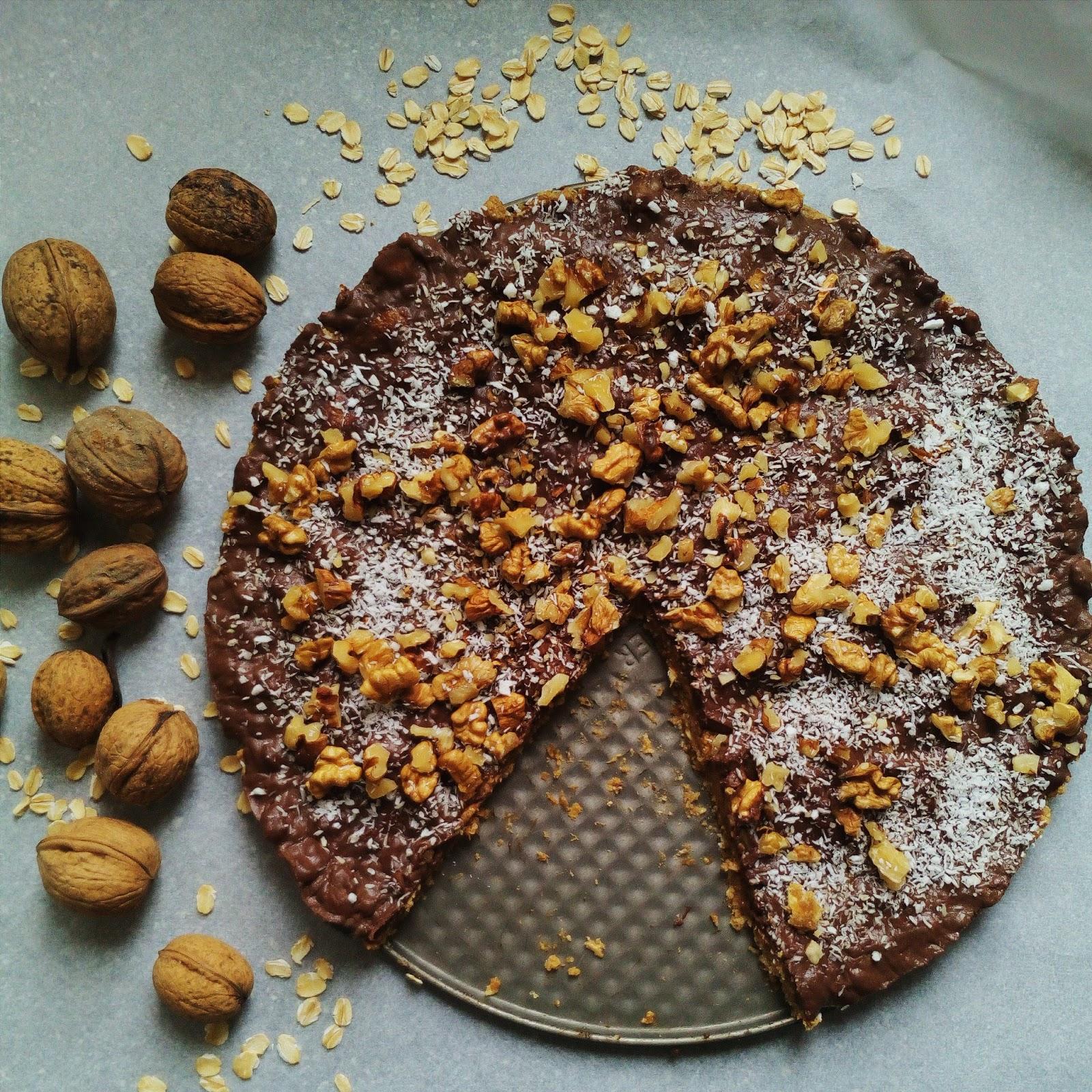Čokoládovo - kokosový veganský nepečený dort