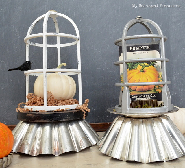 DIY cloches made with salvaged junk fall decor