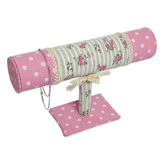 This pretty Pink Fabric Covered T-Bar Bracelet Display can make anyone smile | NileCorp.com