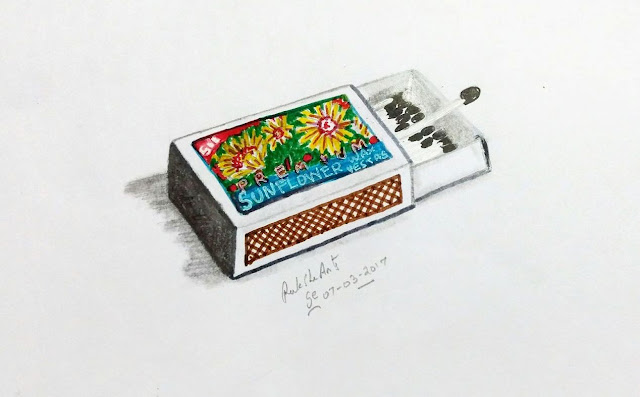 PENCIL DRAWING - MATCH BOX