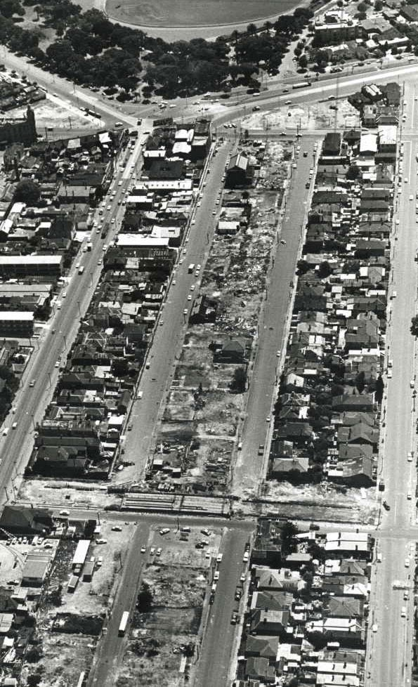 Demolitions to make way for the four-lane extension of  Queens Way at St Kilda Junction (circa 1966)