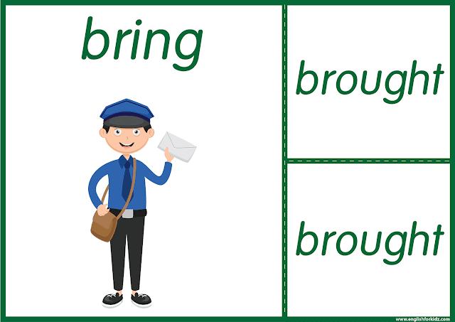 Irregular verb bring - printable ESL flashcards