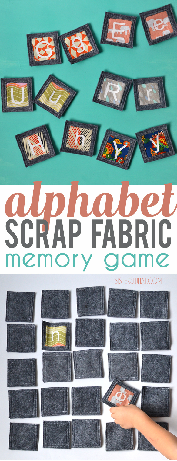 Make a fun abc fabric memory game using scraps fabric and heat transfer vinyl memory game; perfect for your little kids to play.