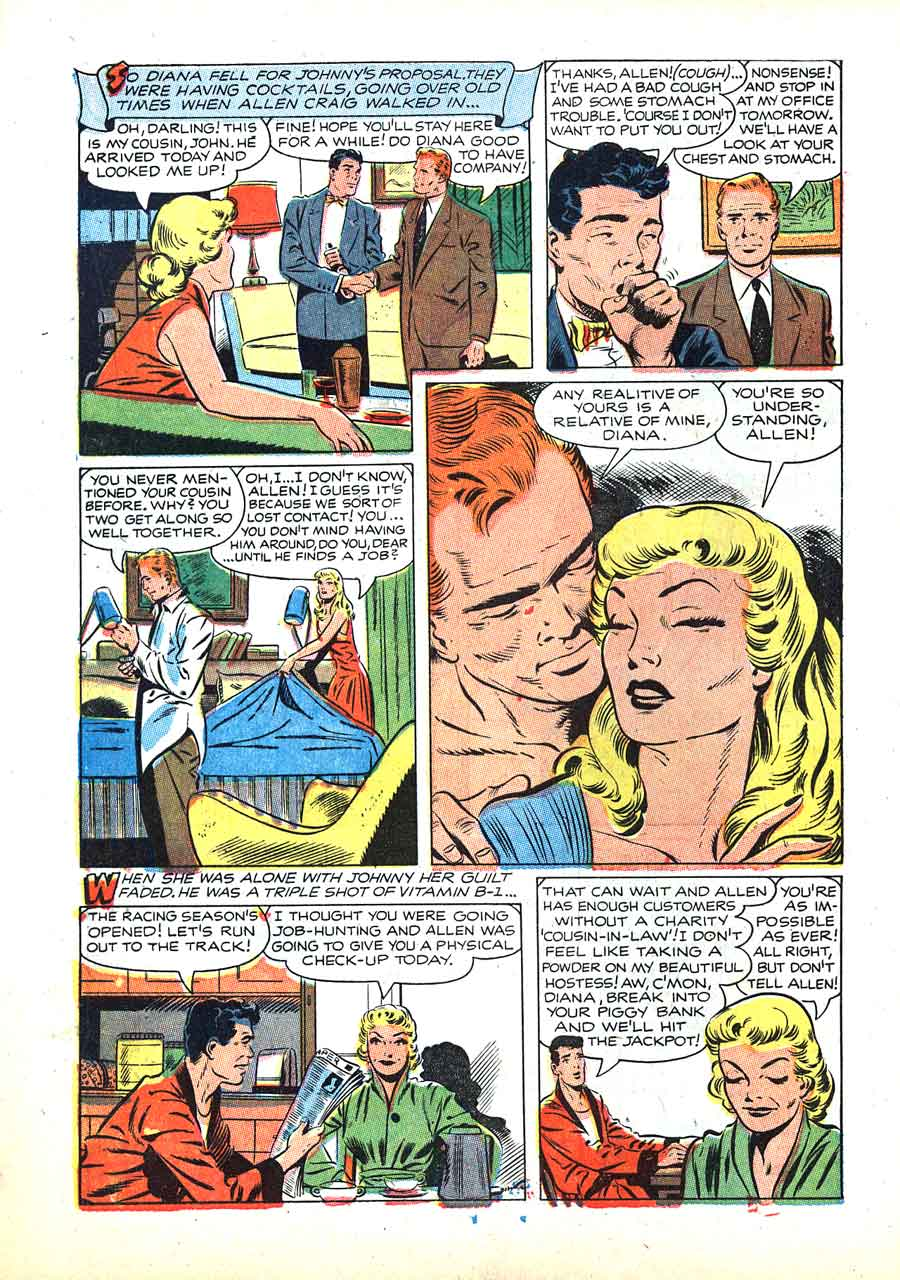 Pictorial Romances #22 st. john golden age 1950s romance comic book page art by Matt Baker