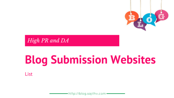 Blog/website submission website list