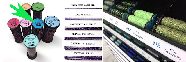 Kreinik Tapestry #12 Braid is sized between Fine #8 and Medium #16 Braids