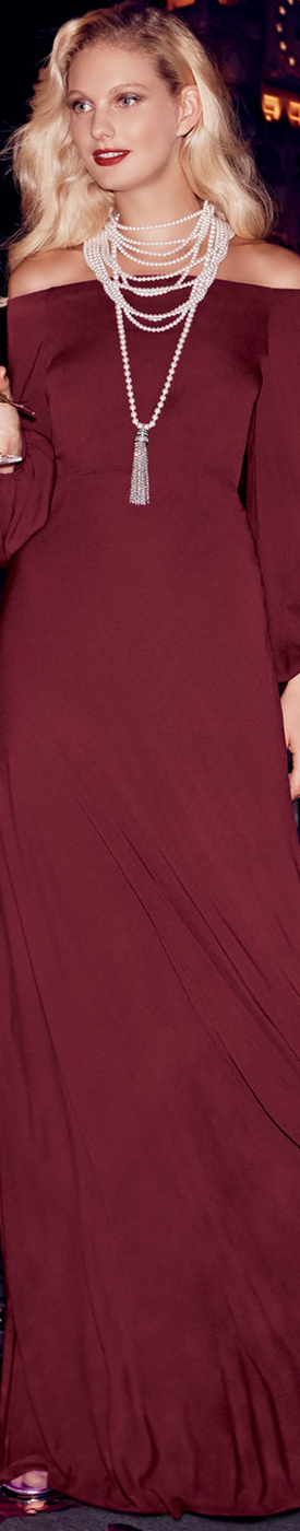 Jill Jill Stuart Off-the-Shoulder Blouson-Sleeve A-line Evening Gown
