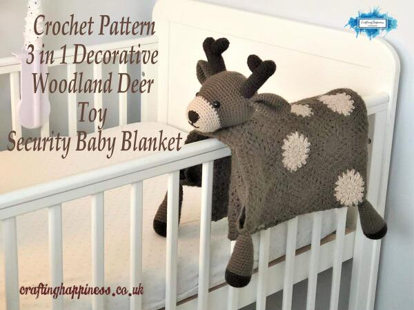 Crochet pattern: 3 in 1 decorative woodland deer toy baby security