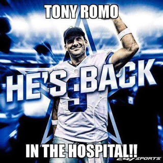 #nfl #nflmeme - tony #romo. he's back in the #hospital!!!
