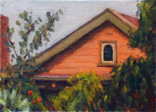 Oil painting of a house with a gabled roof, painted in a warm apricot colour with light green edging and surrounded by trees and shrubs.