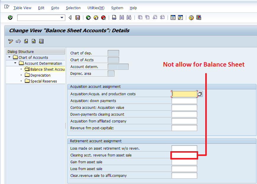 all about sap ac305 account not allowed to be balance sheet account