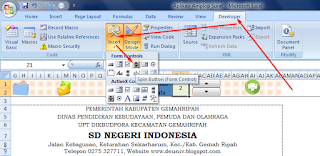 menu spin button di developer