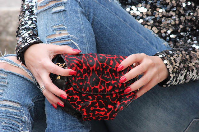 Bolso rojo leopardo kenneth cole