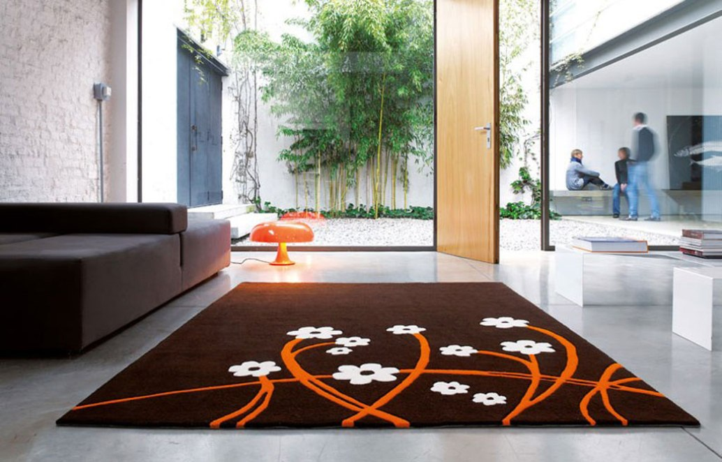 the shopping online: Idée tapis salon marron fleuri