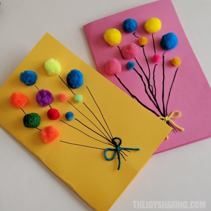 Excellent Pom Pom Balloons Birthday Card The Joy Of Sharing Funny Birthday Cards Online Inifofree Goldxyz