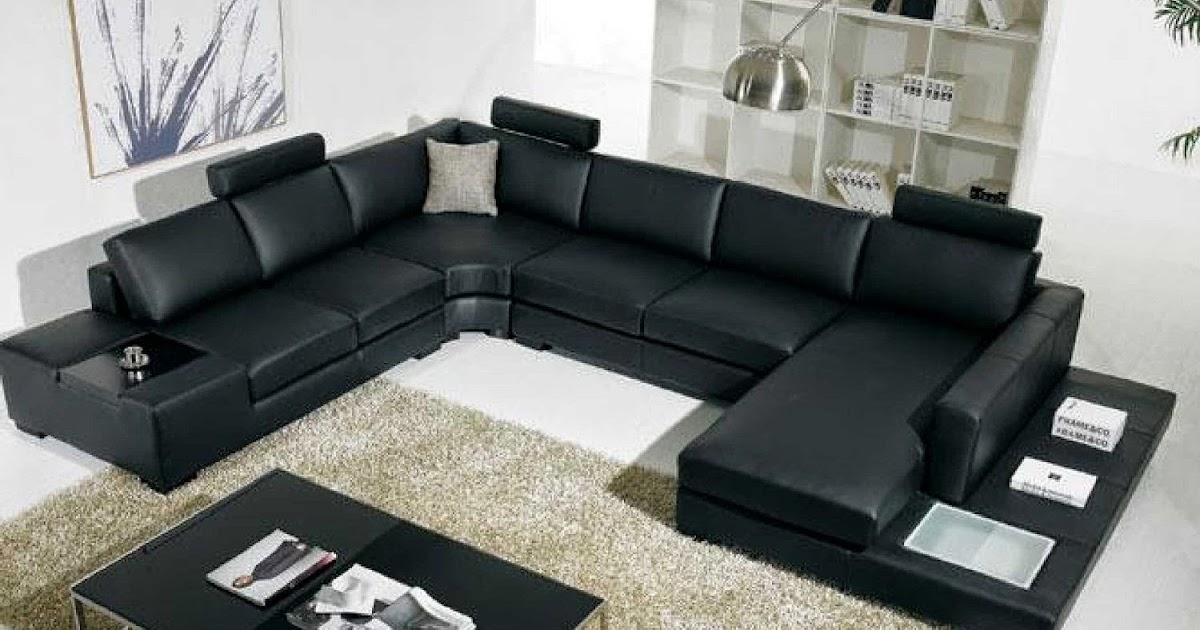 modern black leather couch