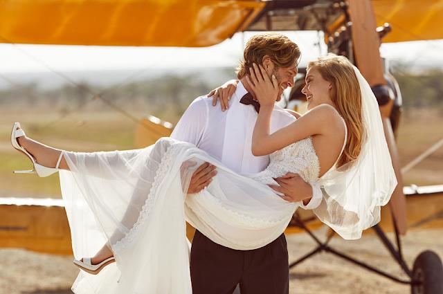 Wild love in East Africa - stylizowana romantyczna sesja ślubna z sukniami Carolina.