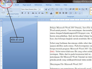 Belajar Microsoft Word 2007 Pemulan Save File dan Open File