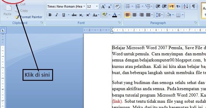 cara membuka program microsoft word 2007