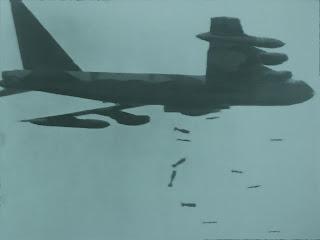 B52 americano bombardiere su Cu Chi Tunnel (Vietnam)