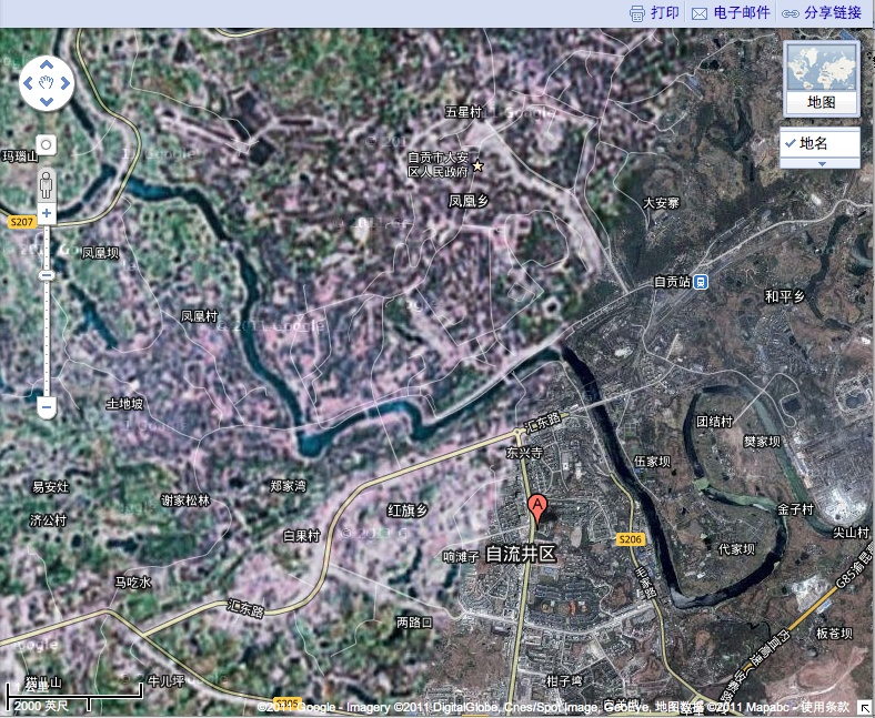 Google Maps and Baidu Map in China   Isidor s Fugue Zigong in Google Maps  Satellite View