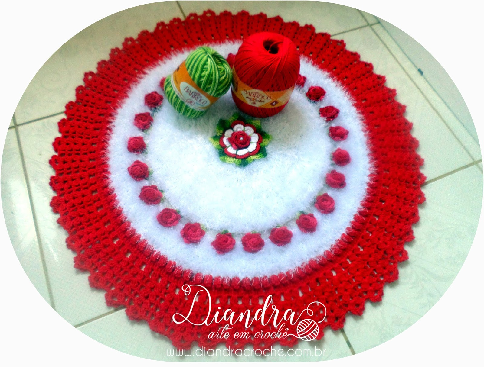 Diandra Arte Em Croch Tapete Redondo Flor Isadora