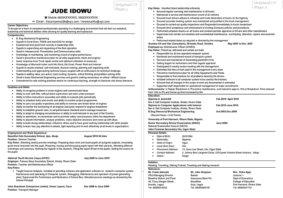 Personal Profile Part Of Resume. Examples Of Good And Bad Cvs