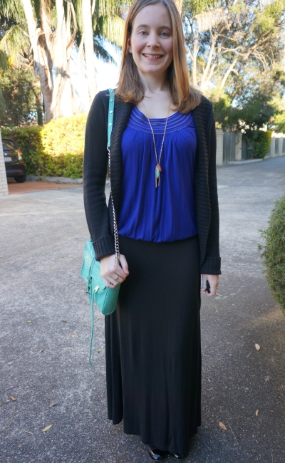 Long black cardigan jersey maxi skirt cobalt blue blouson tee