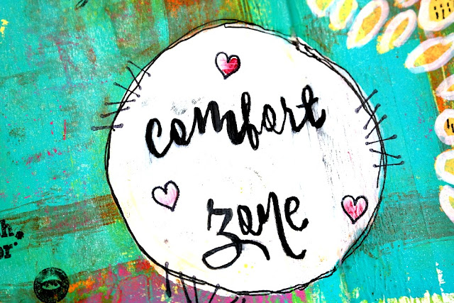 Comfort Zone Art Journal Spread by Dana Tatar for Canvas Corp Brands