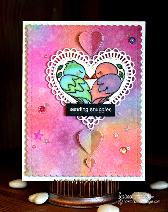 Snuggly Bird Card by Larissa Heskett | Darling Duos stamp set & Darling Hearts Die set by Newton's Nook Designs #newtonsnook