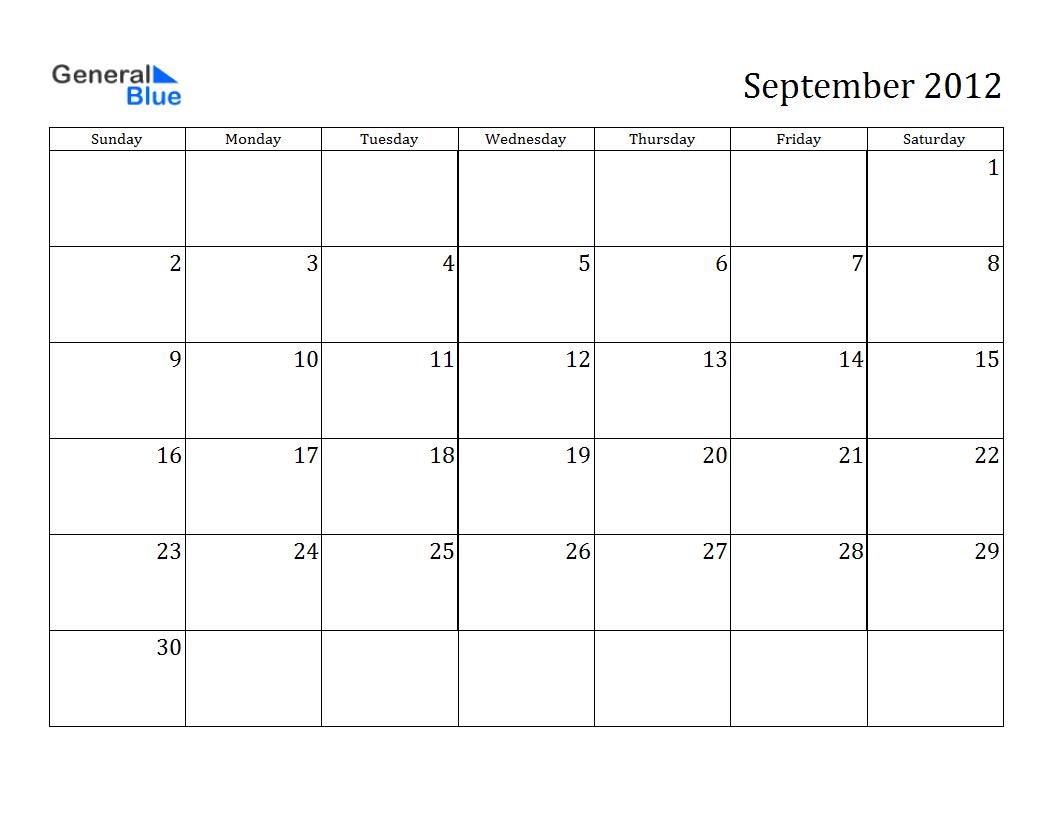 Calendar 2012 Free Printable Calendar September 2012
