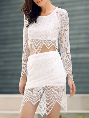Lace Insert Crop Top and Lace Insert Skirt Twinset
