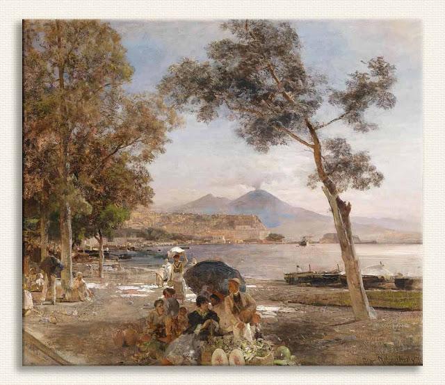 Oswald Achenbach, Napoli'de Günbatımı kanvas baskı tablo