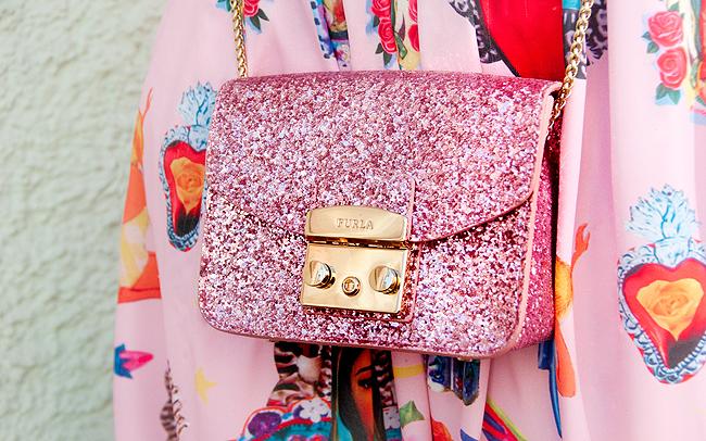 Furla metropolis, pink glitter bag, mini bag