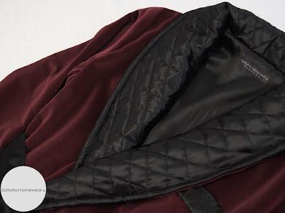 luxus hausmantel herren dressing gown samt baumwolle seide gefüttert lang dunkelrot weinrot burgunderrot männer morenmantel exklusiv