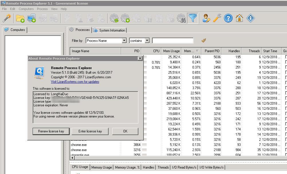 LizardSystems  Remote Process Explorer 5.1 Build 245 Full Key, Quản lý các quy trình trên máy tính từ xa trong thời gian thực